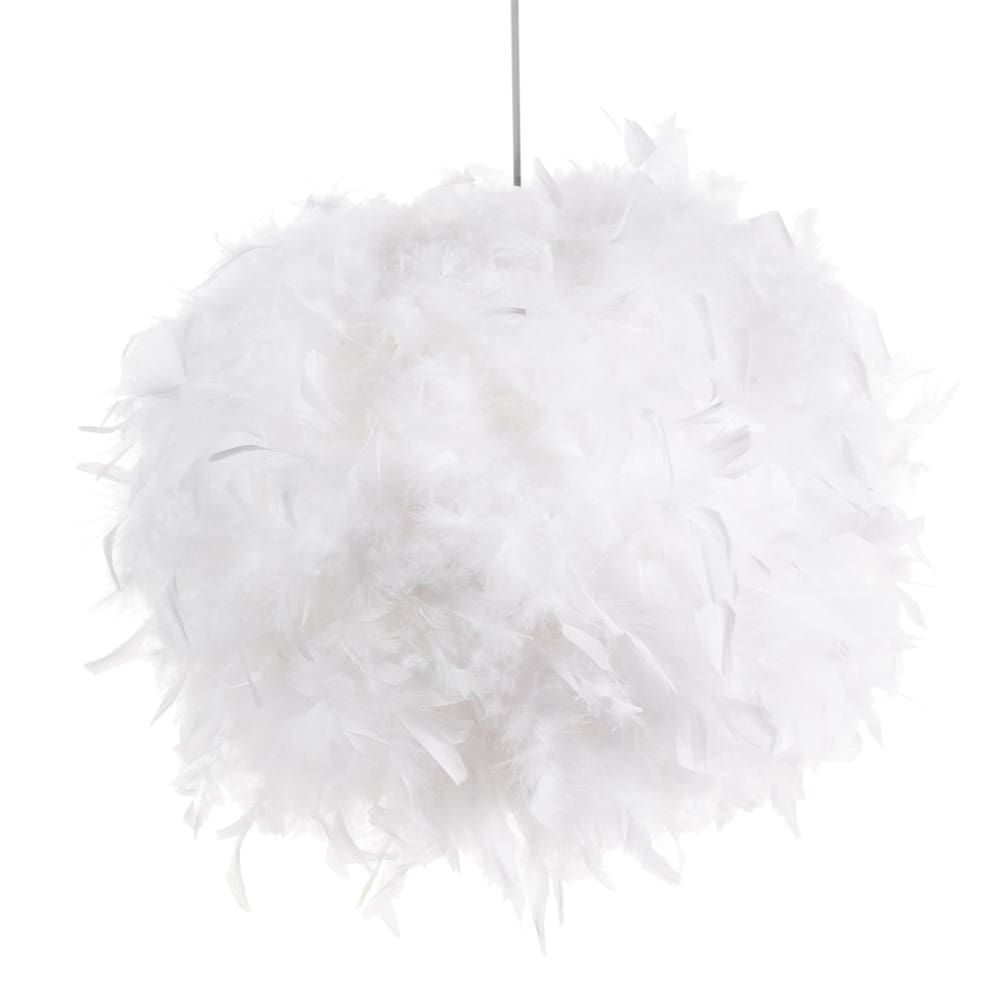 Suspension non electrifi e en plumes blanches d 28 cm feathers maisons du m - Suspension plume blanche ...