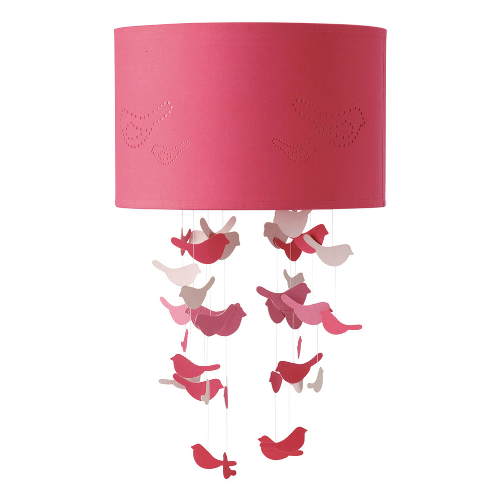 suspension non lectrifi e en tissu rose d 30 cm birds maisons du monde. Black Bedroom Furniture Sets. Home Design Ideas