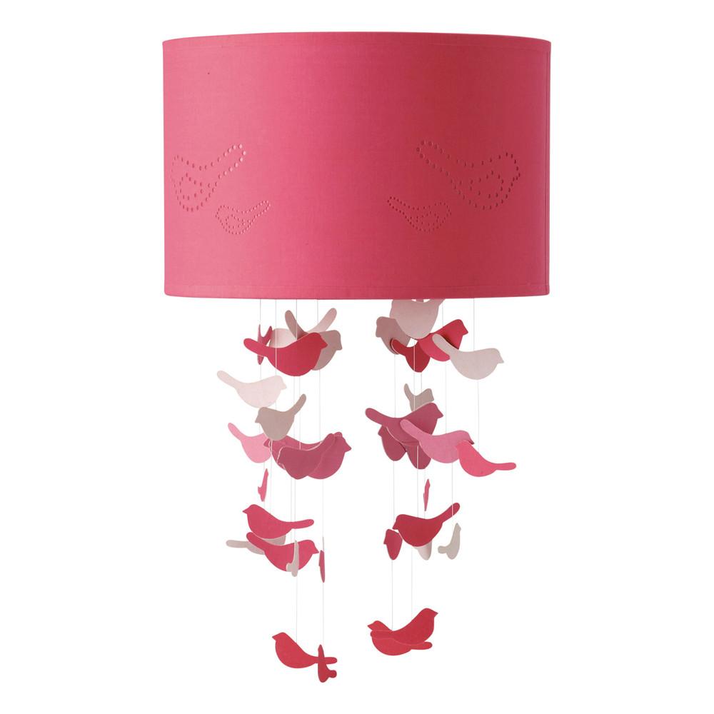 Suspension non lectrifi e en tissu rose d 30 cm birds - Suspension chambre fille ...
