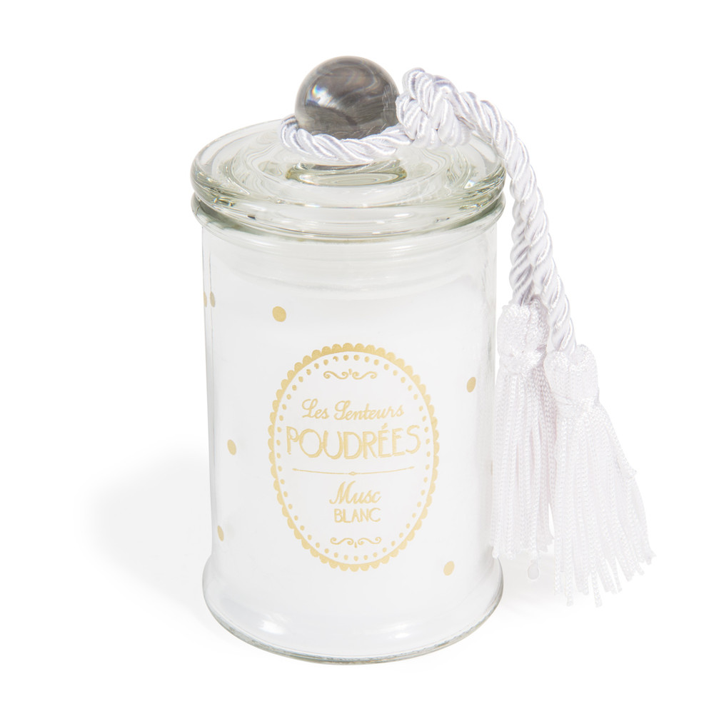 sweet jar candle with white musk scent in white h 11cm maisons du monde. Black Bedroom Furniture Sets. Home Design Ideas