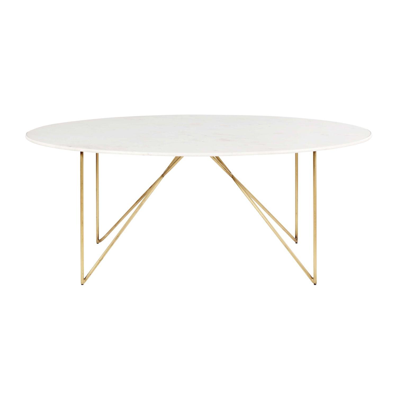 Table A Manger 4 6 Personnes En Marbre Blanc Et Fer Dore L200 Izmir