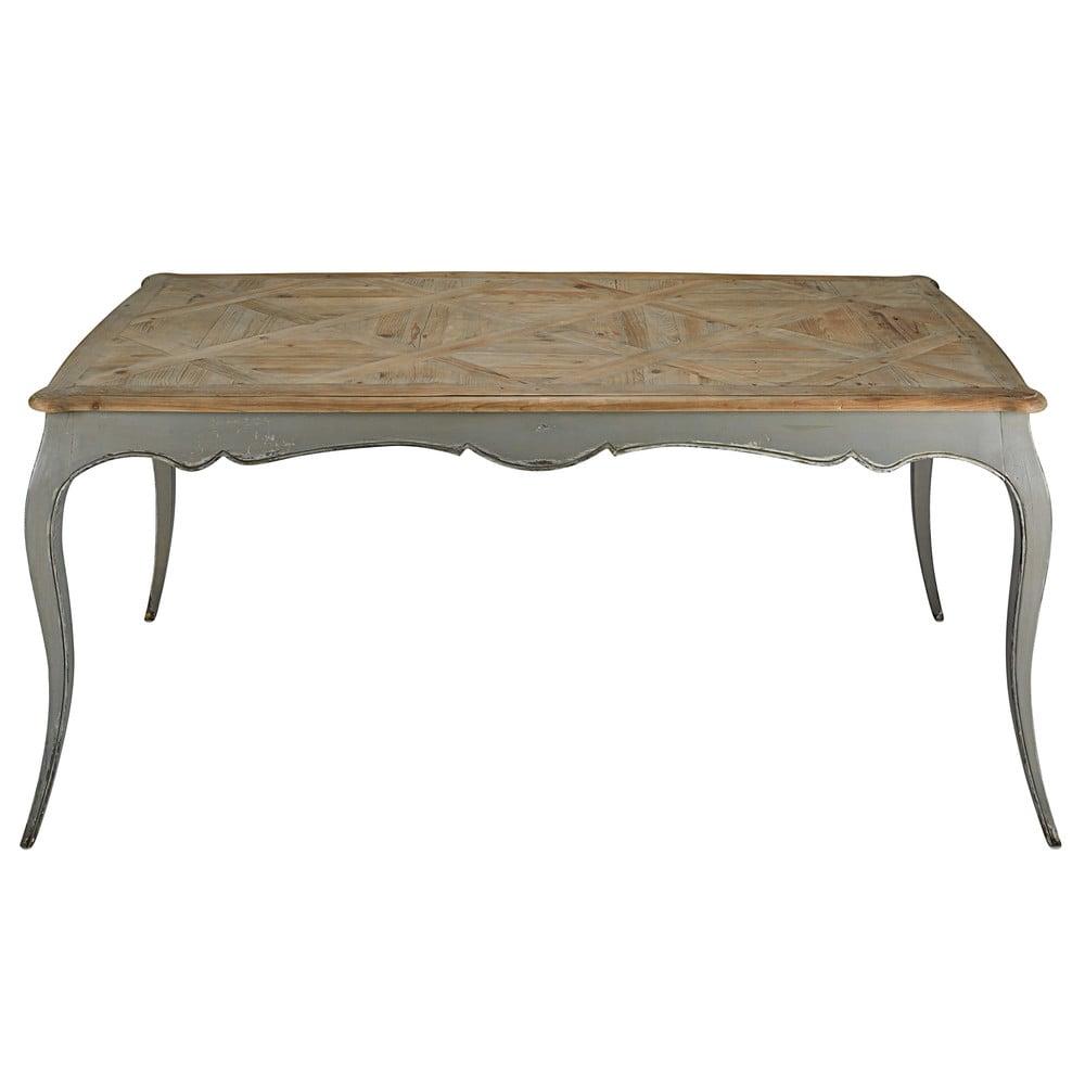Table manger en peuplier gris et sapin 6 8 personnes for Dimension table 6 8 personnes