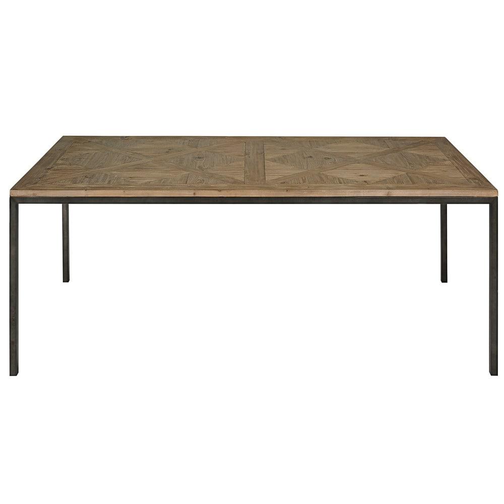 table manger en pin recyl et m tal noir 6 8 personnes l200 simeon maisons du monde. Black Bedroom Furniture Sets. Home Design Ideas