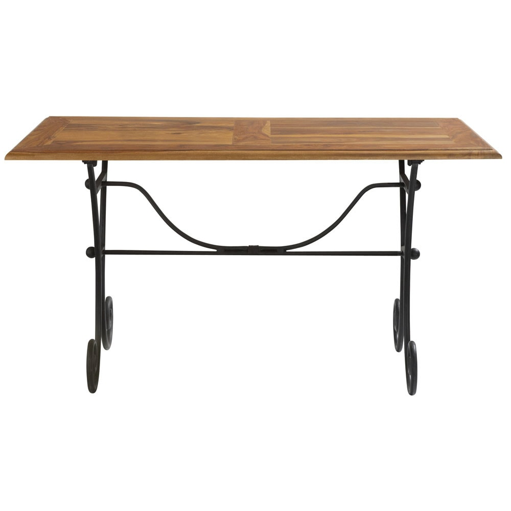 Table manger en sheesham massif et fer forg l140 for Table salle a manger fer forge design