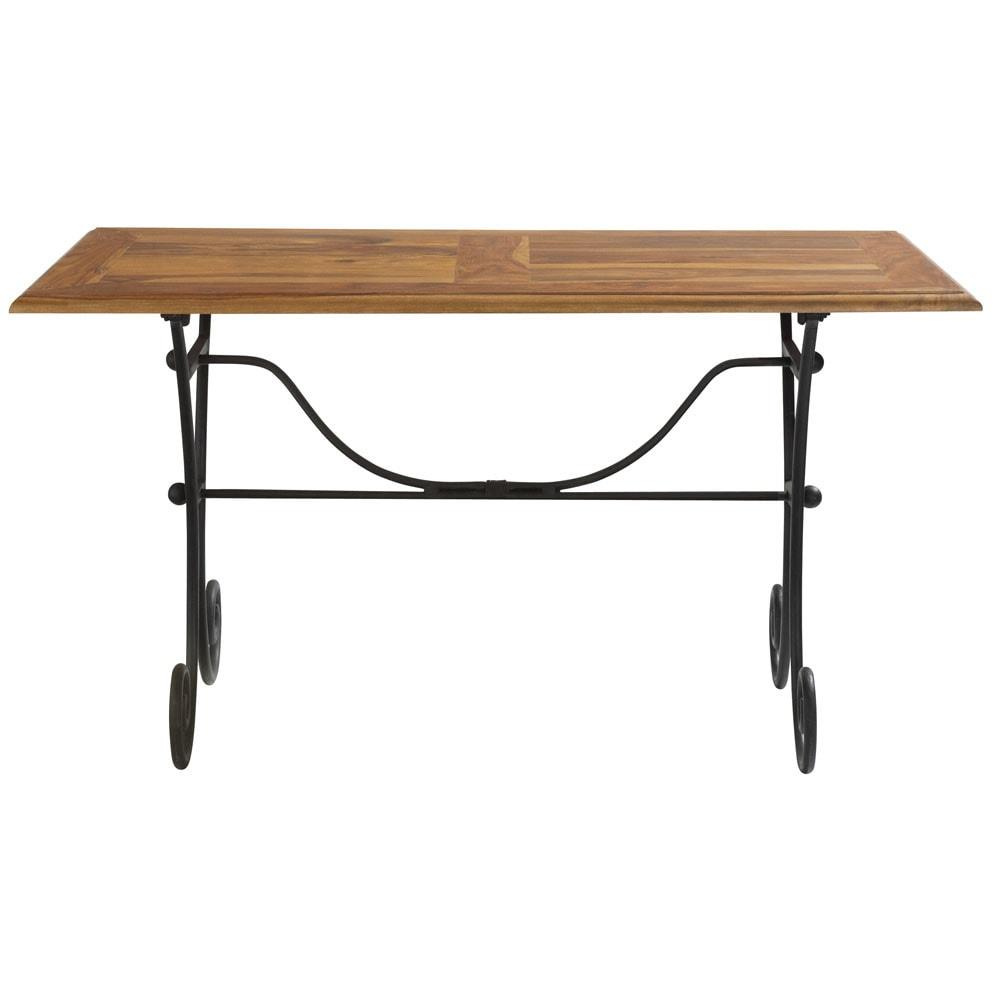 table manger en sheesham massif et fer forg l140. Black Bedroom Furniture Sets. Home Design Ideas
