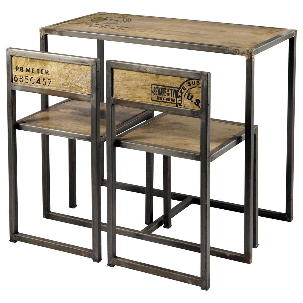 table manger et 2 chaises en manguier et m tal l90 manufacture maisons du monde. Black Bedroom Furniture Sets. Home Design Ideas