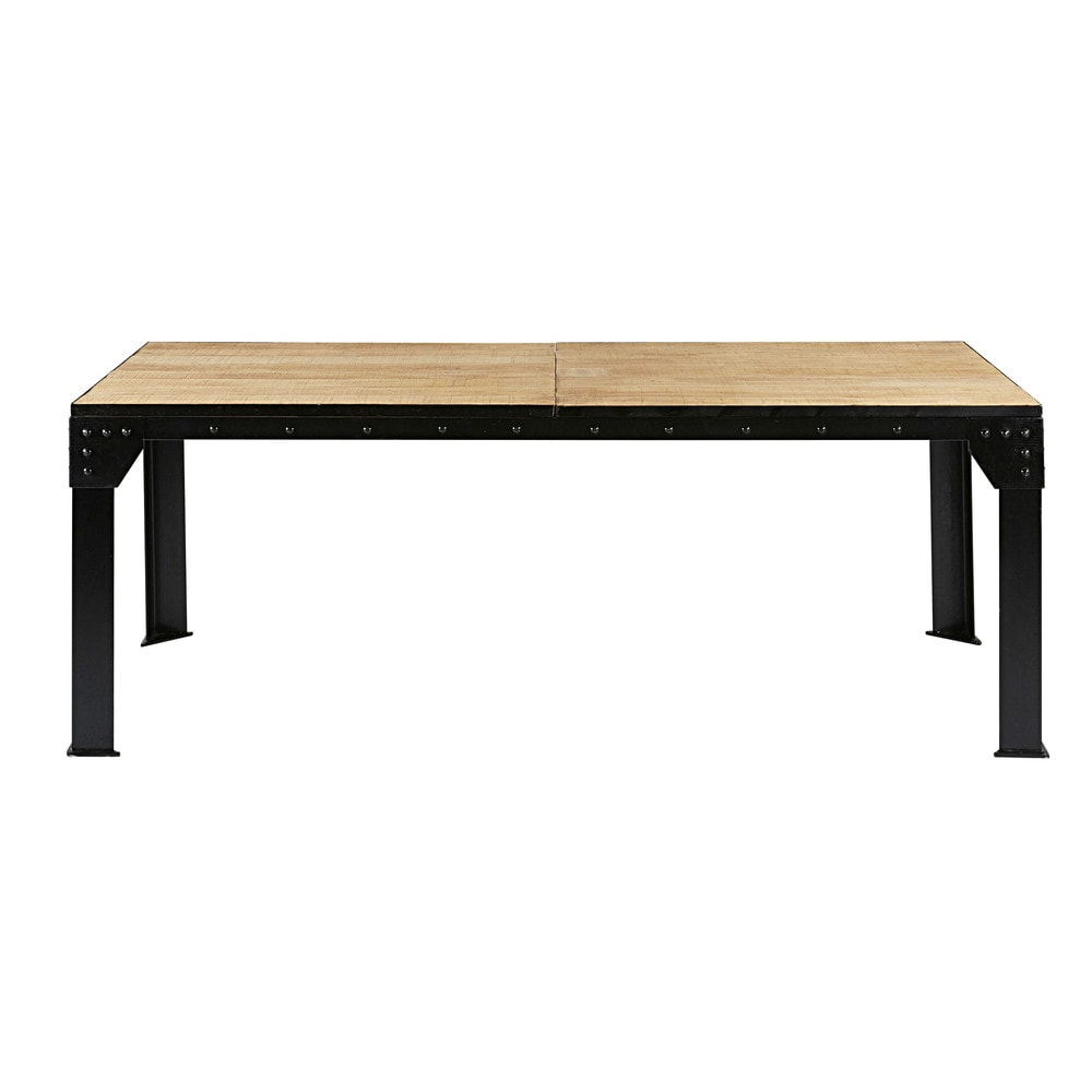 Table manger extensible en manguier et m tal 12 for Table ronde extensible 12 personnes