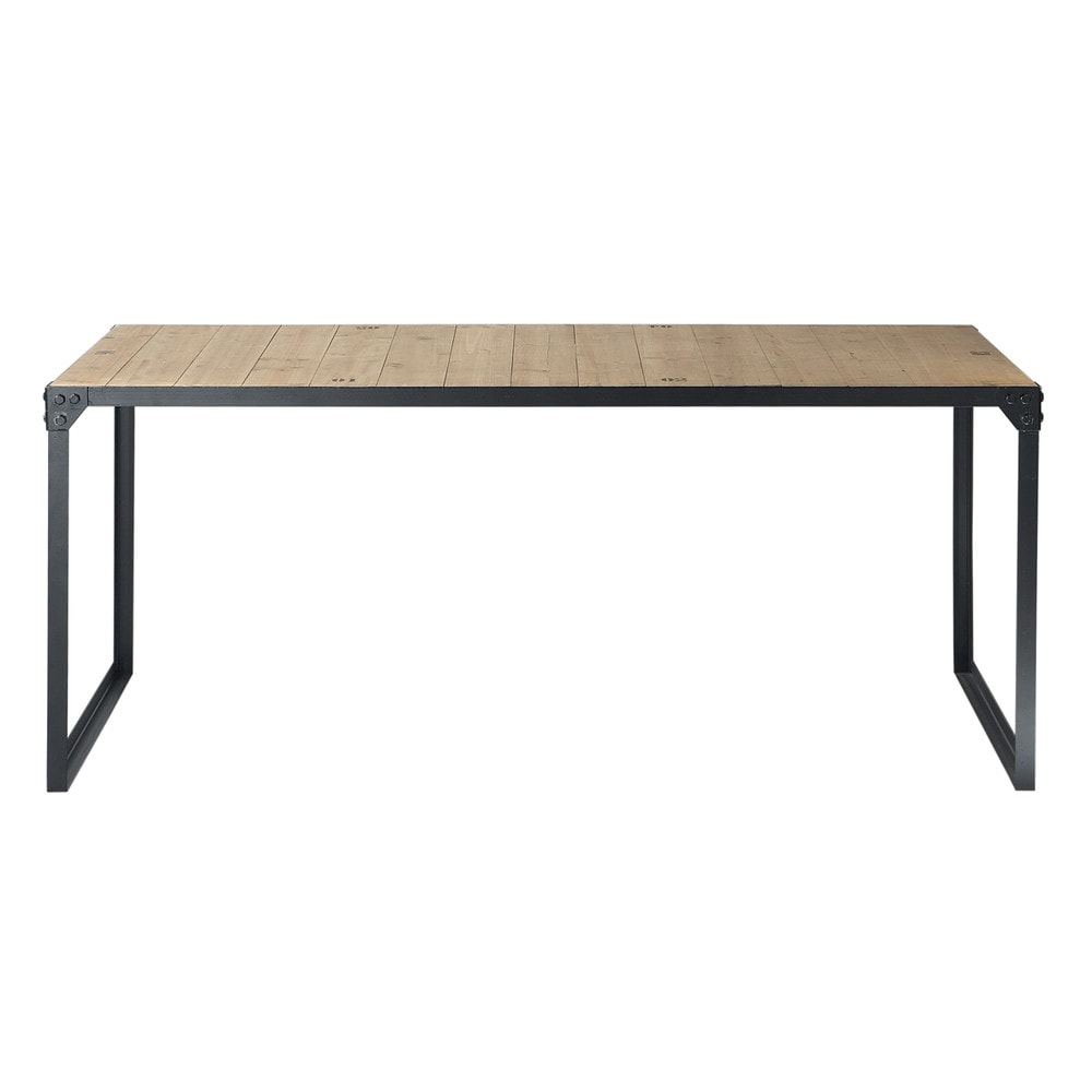 table manger indus en sapin et m tal 8 personnes l180. Black Bedroom Furniture Sets. Home Design Ideas