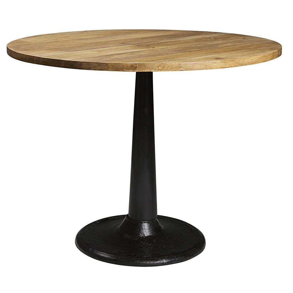 table manger ronde en manguier et m tal 4 6 personnes. Black Bedroom Furniture Sets. Home Design Ideas