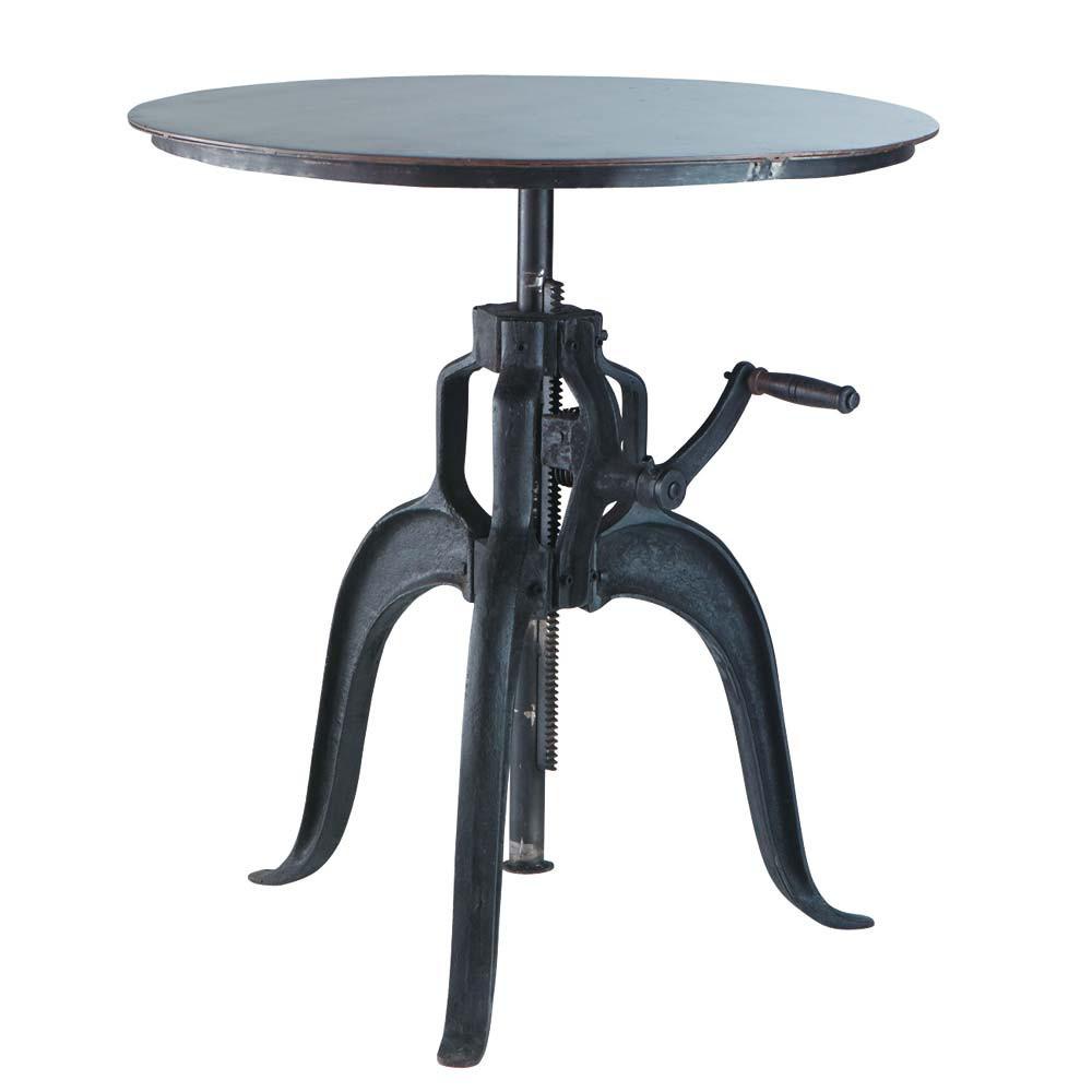 table manger ronde indus en m tal noir 4 personnes d75. Black Bedroom Furniture Sets. Home Design Ideas