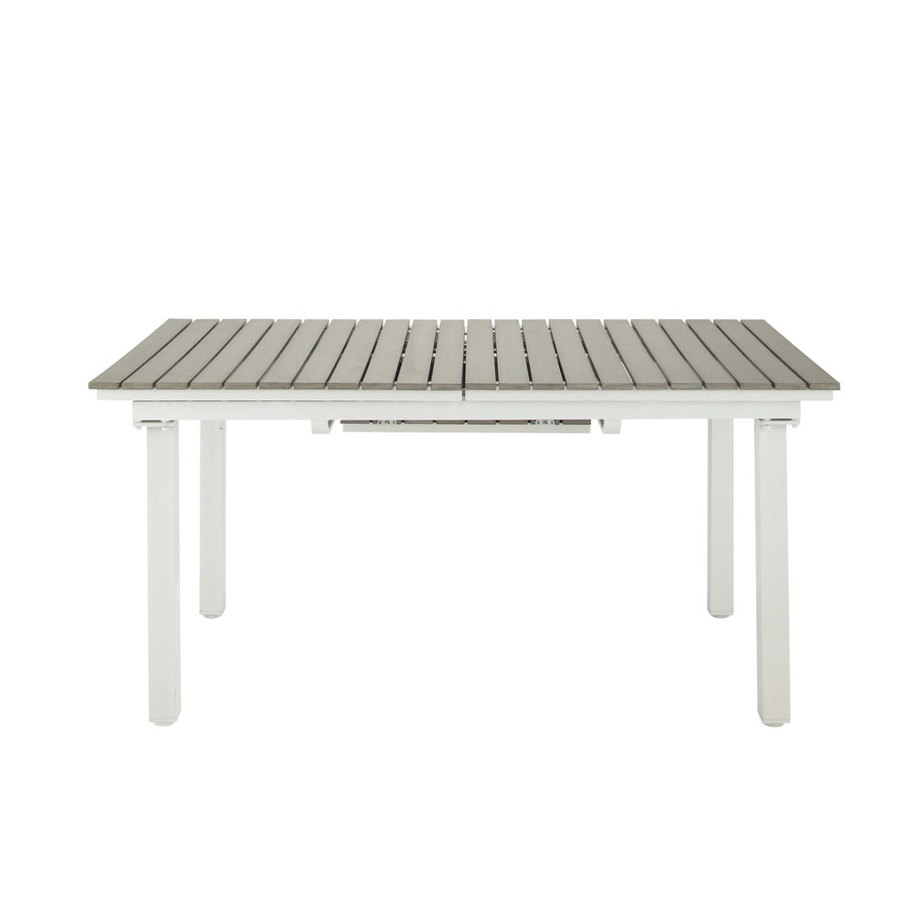 Table rallonge de jardin en composite imitation bois et aluminium l 157 cm escale maisons du Table jardin imitation bois