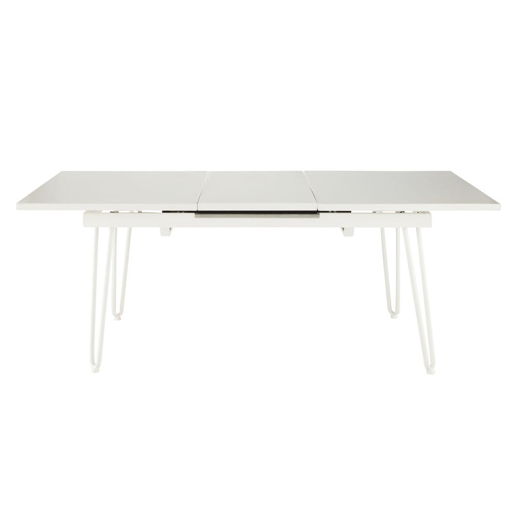 table rallonge de jardin en m tal blanche l 150 cm swing maisons du monde. Black Bedroom Furniture Sets. Home Design Ideas