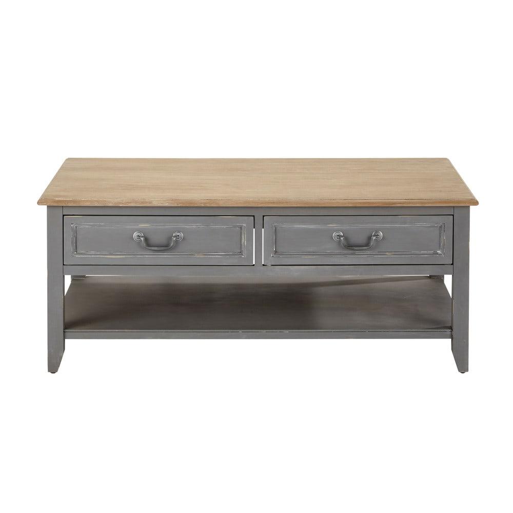 Table basse 2 tiroirs grise honorine maisons du monde Table basse avec tiroir de rangement