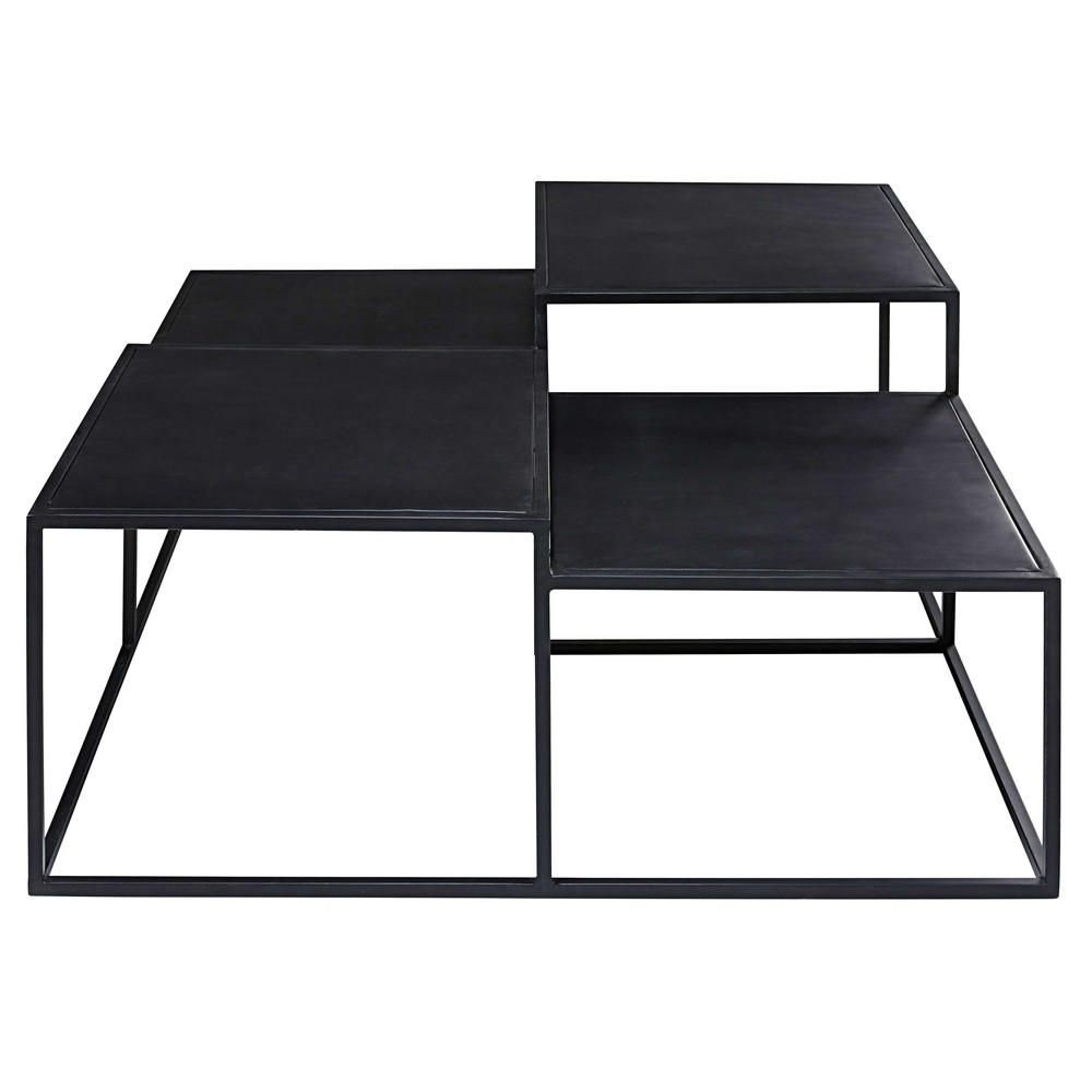 table basse 4 plateaux en m tal noir edison maisons du monde. Black Bedroom Furniture Sets. Home Design Ideas
