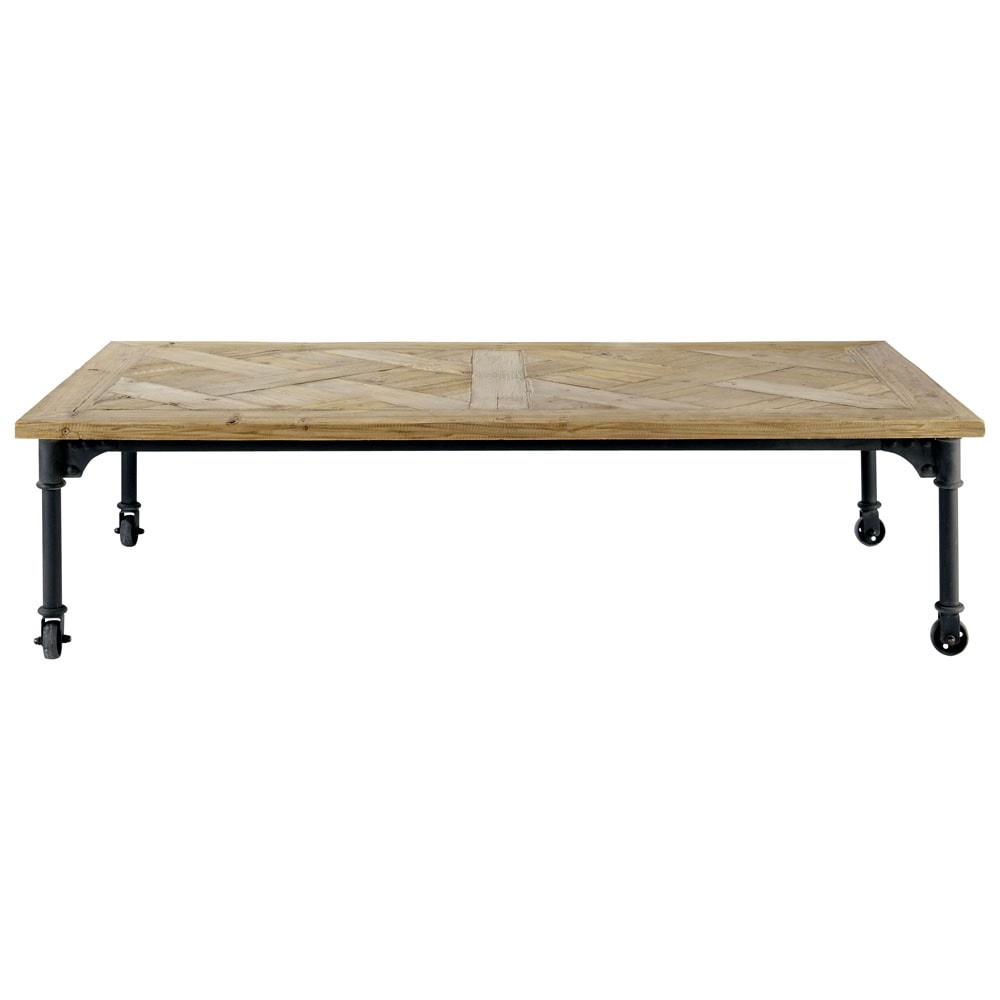 table basse roulettes en bois et m tal l 160 cm mirabeau. Black Bedroom Furniture Sets. Home Design Ideas