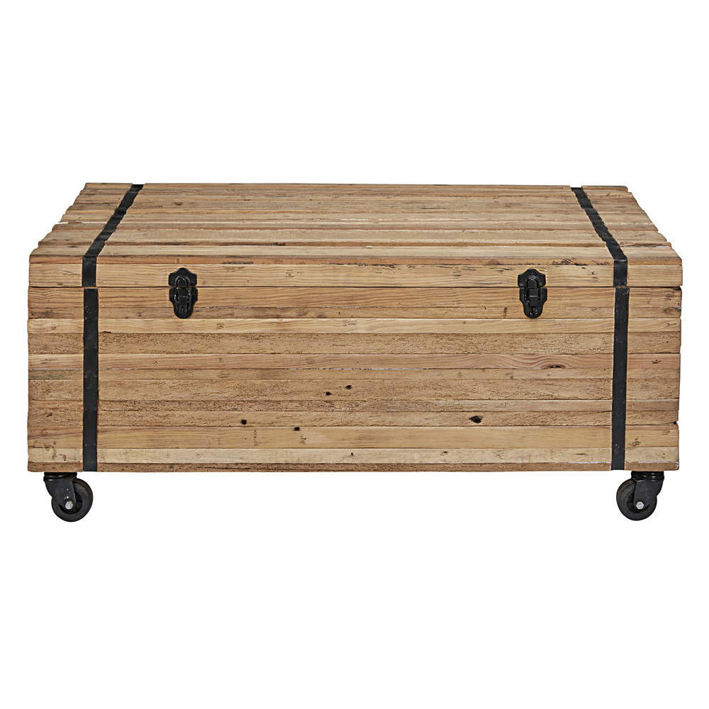 table basse roulettes en bois recycl s sawyer maisons. Black Bedroom Furniture Sets. Home Design Ideas