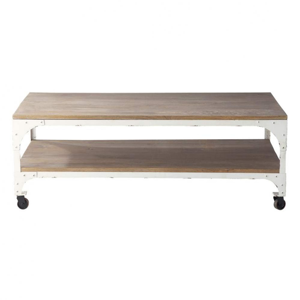 Table basse roulettes en manguier et m tal l 110 cm - Table basse roulettes ...