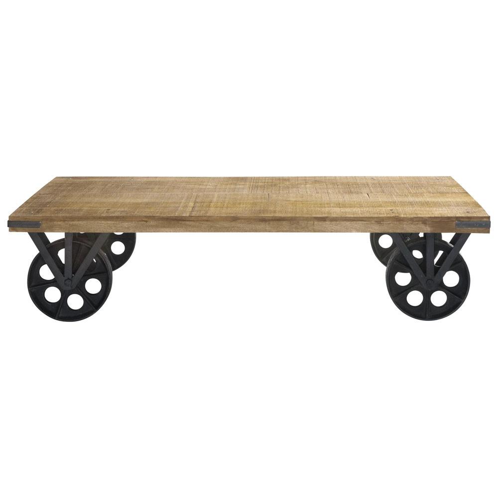 Table basse roulettes en manguier et m tal l 145 cm gare for Table basse maison du monde