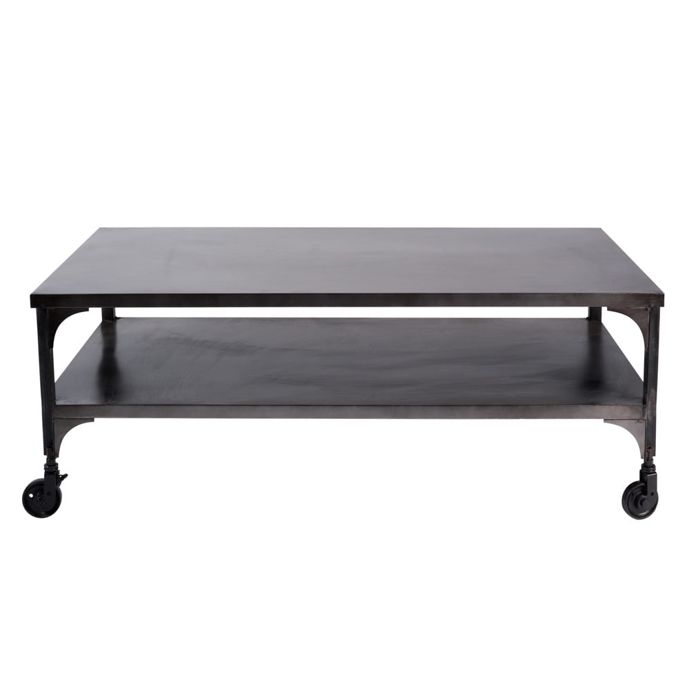 table basse roulettes en m tal effet vieilli l 110 cm. Black Bedroom Furniture Sets. Home Design Ideas