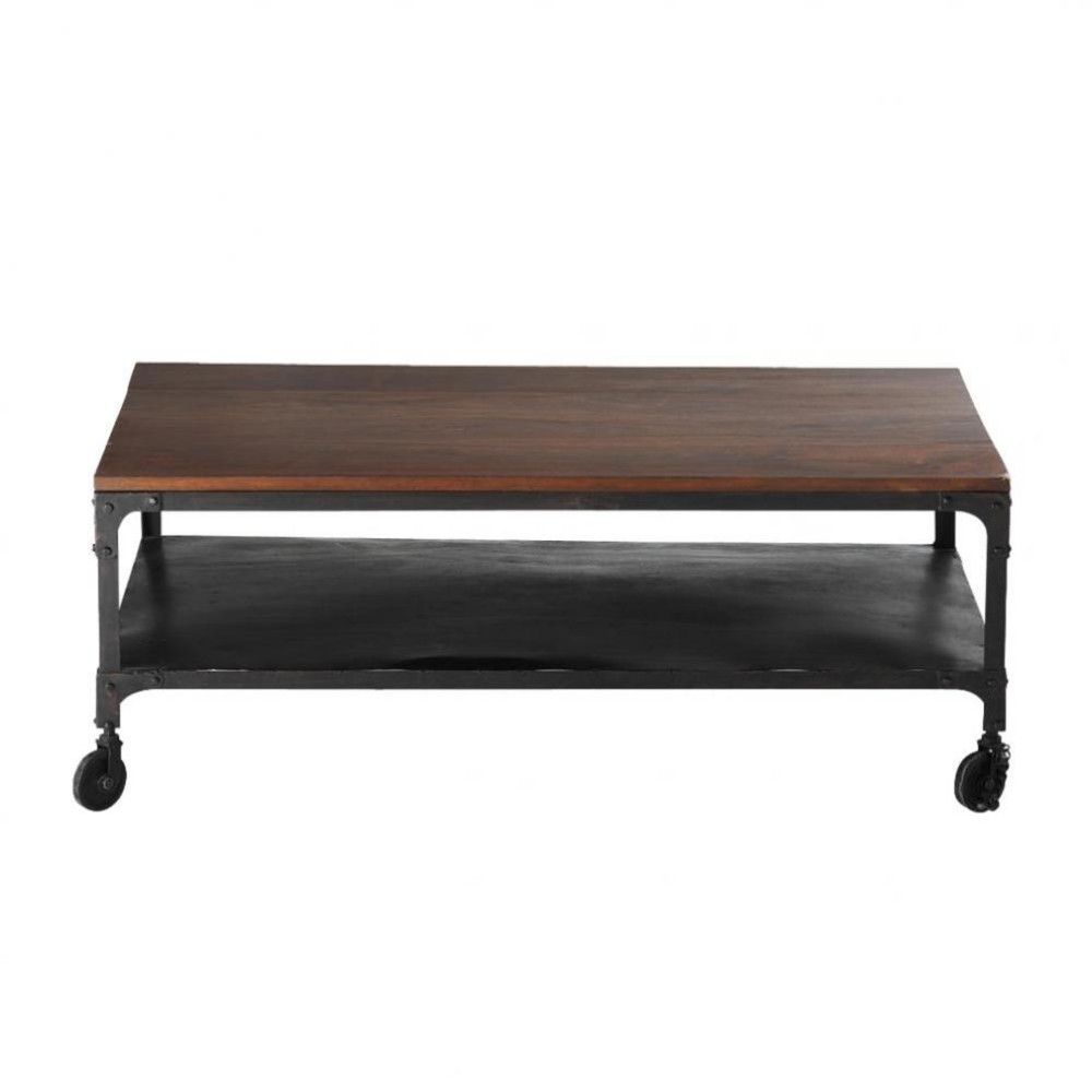 table basse roulettes en sheesham massif et m tal l110 industry maisons du monde. Black Bedroom Furniture Sets. Home Design Ideas