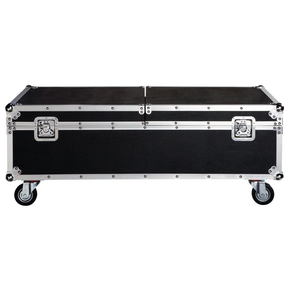 Table basse roulettes noire l 120 cm cin ma maisons du for Table basse a roulettes