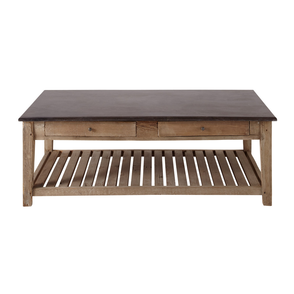 Table basse bois recycle for Table basse rectangulaire bois