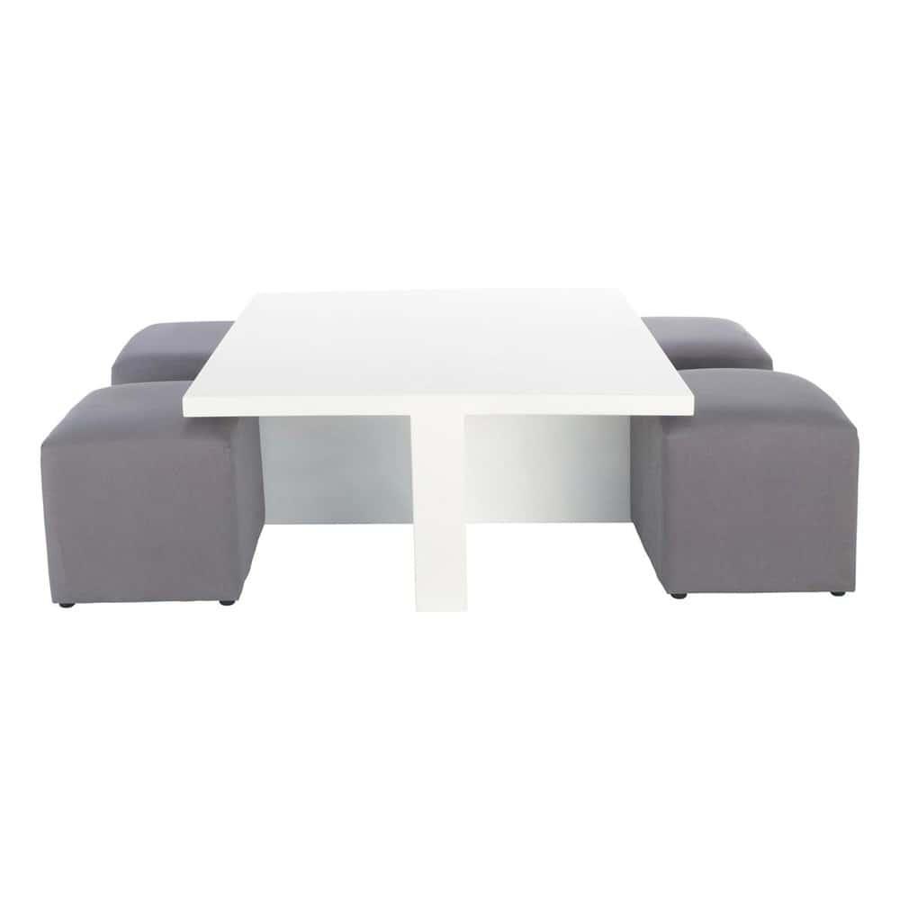 Table basse carr e blanche et 4 tabourets cubik maisons - Table basse blanche carree ...