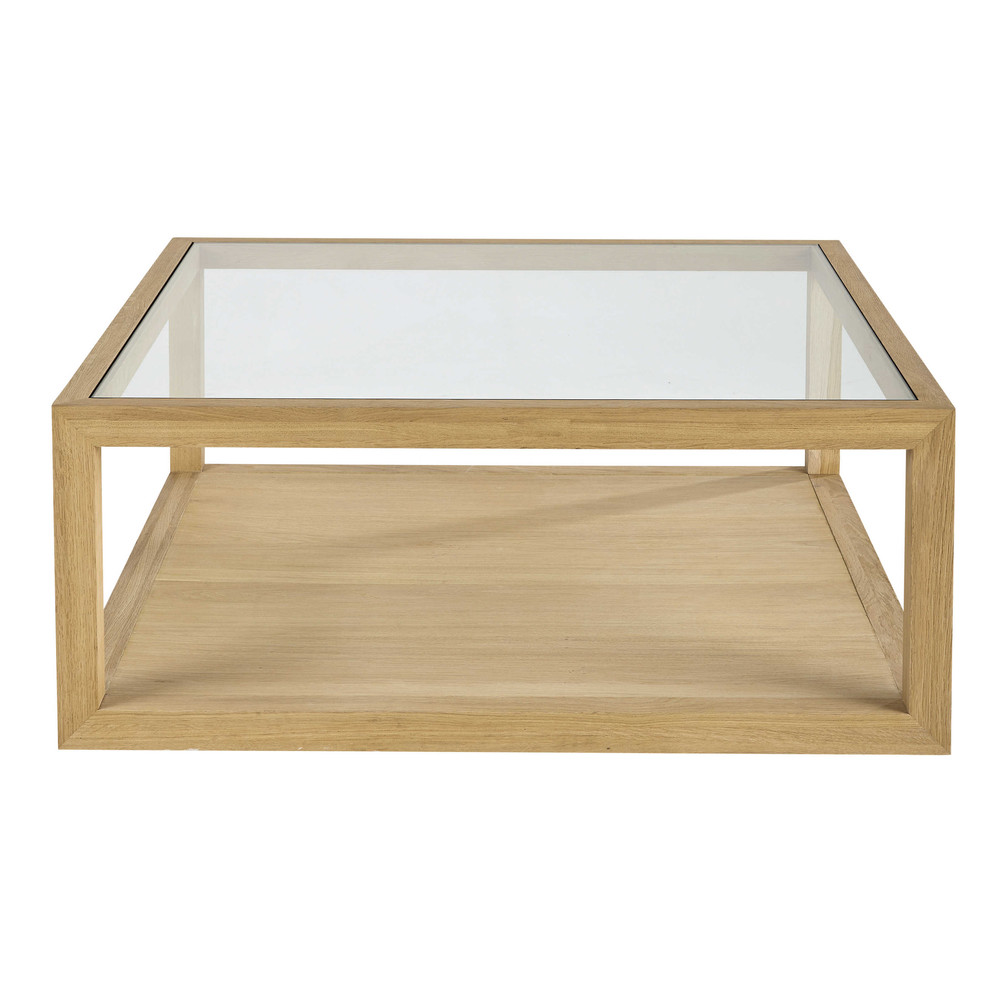 Table basse carr e en ch ne fran ais massif l 100 cm hambourg maisons du monde - Table basse carree chene massif ...
