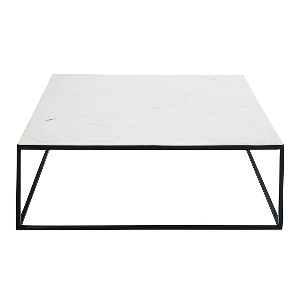 table basse carr e en marbre blanc et m tal noir marble maisons du monde. Black Bedroom Furniture Sets. Home Design Ideas