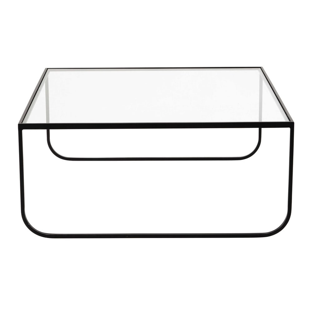 Table basse carr e en m tal et verre tremp l 90 cm dixon maisons du monde - Table basse carree metal ...