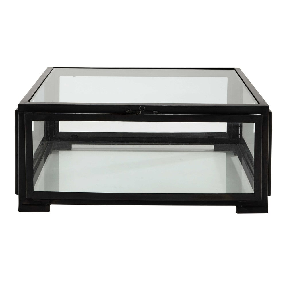 table basse carr e en verre et m tal noire l 80 cm alphonse maisons du monde. Black Bedroom Furniture Sets. Home Design Ideas