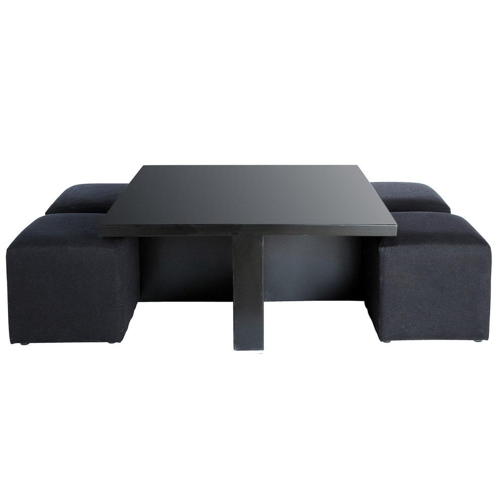Table basse carr e noire et 4 tabourets cubik maisons du - Table basse avec tabouret ...