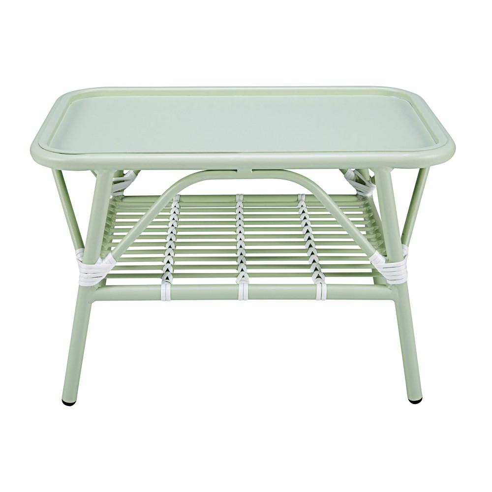 Table Basse De Jardin En Aluminium Vert Clair Et Blanc Gariguette Maisons Du Monde