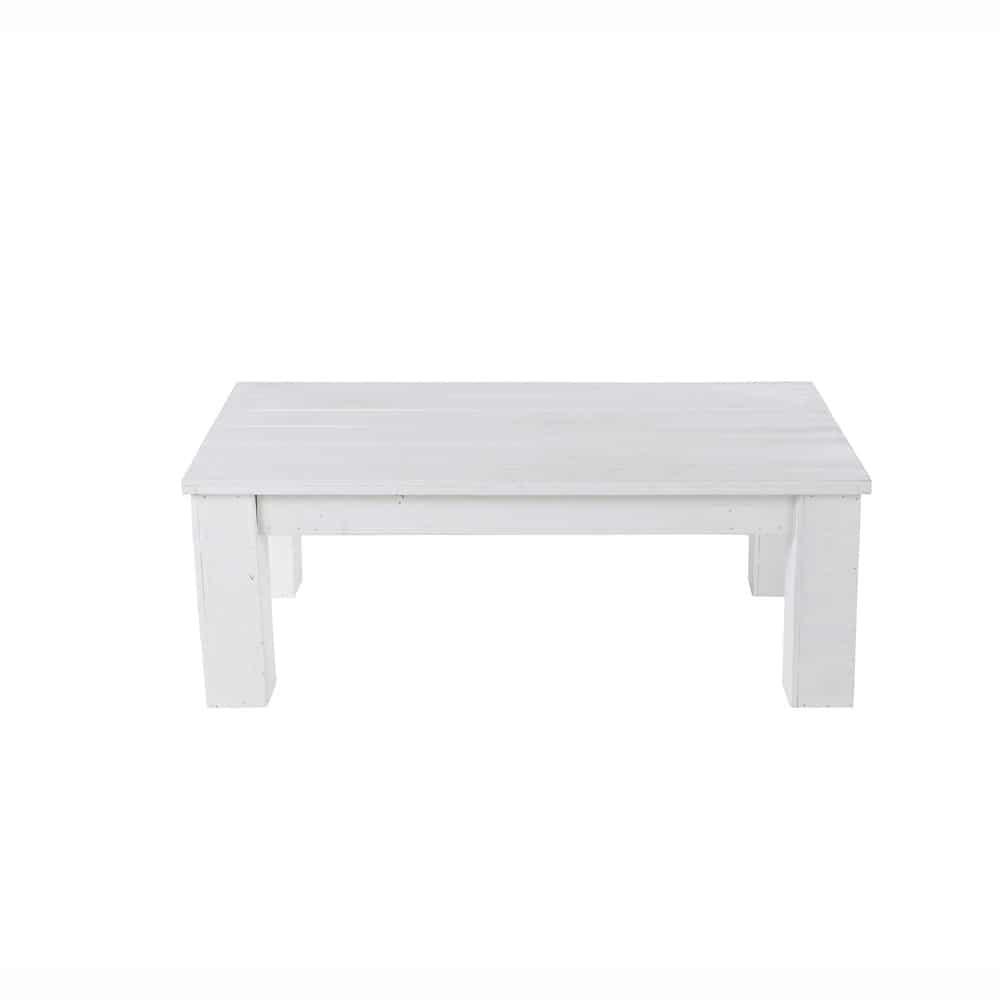 Table basse de jardin en bois blanche l 100 cm brehat for Table basse blanche en bois