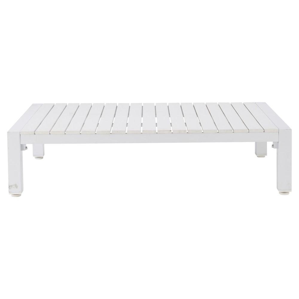 table basse de jardin en composite imitation bois et aluminium blanche l 130 cm portofino. Black Bedroom Furniture Sets. Home Design Ideas