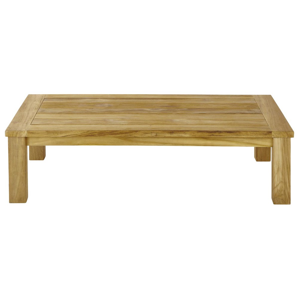 Table basse de jardin en teck l 130 cm belle ile maisons - Table basse en teck ...