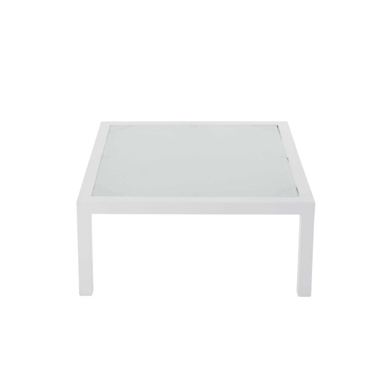 Table basse de jardin en verre trempé et aluminium blanc L 71 cm ...