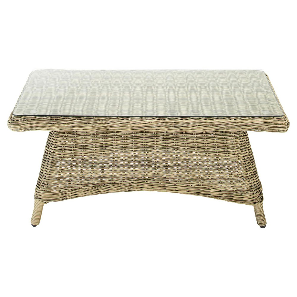 Table basse de jardin en verre tremp et r sine tress e l 100 cm saint rapha - Table basse de jardin ...