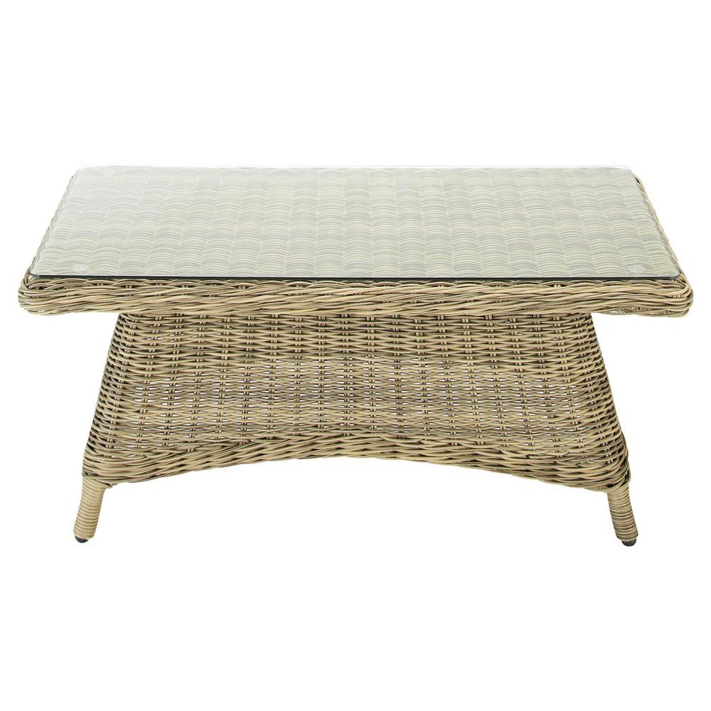 Table basse de jardin en verre tremp et r sine tress e l for Table basse en resine tressee