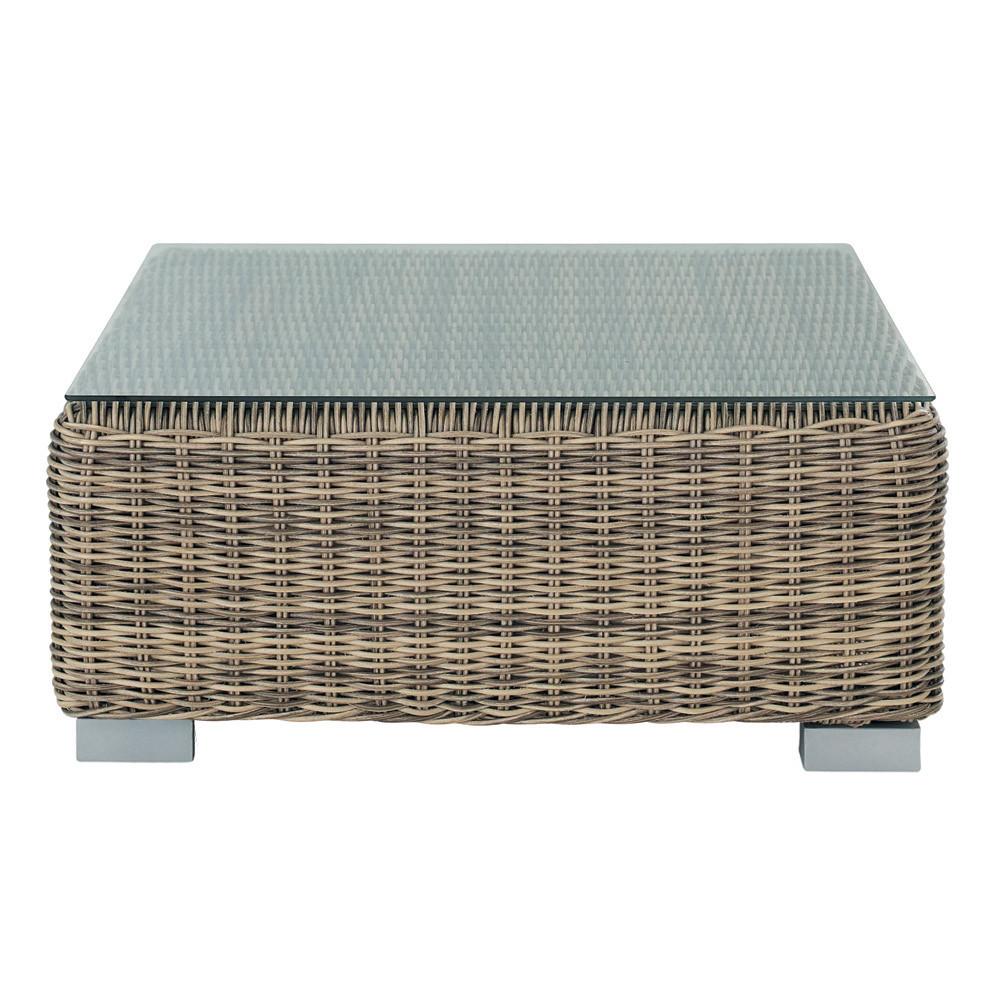 table basse de jardin en verre tremp et r sine tress e l 76 cm st rapha l maisons du monde. Black Bedroom Furniture Sets. Home Design Ideas