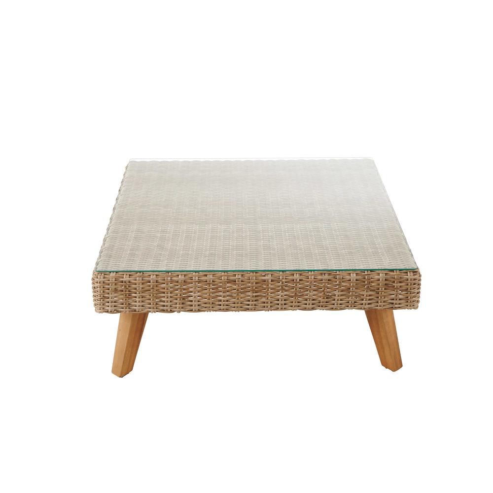 Table basse de jardin en verre tremp et r sine tress e l for Table de jardin resine tressee