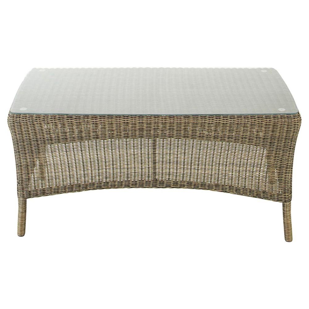 Table basse de jardin en verre tremp et r sine tress e l 90 cm adelie mais - Table basse en resine ...