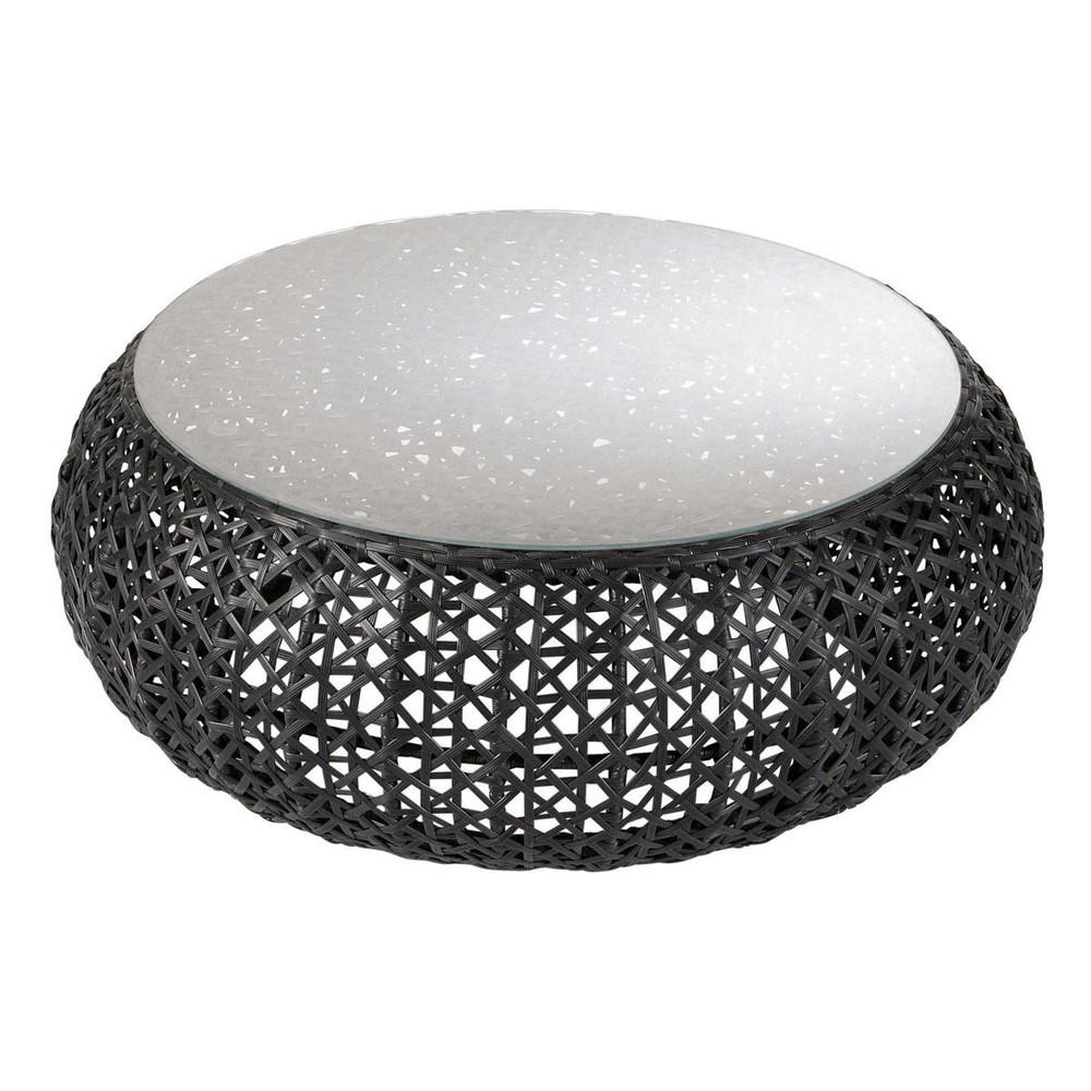Table basse de jardin en resine tressee noire jsscene for Table basse en resine tressee
