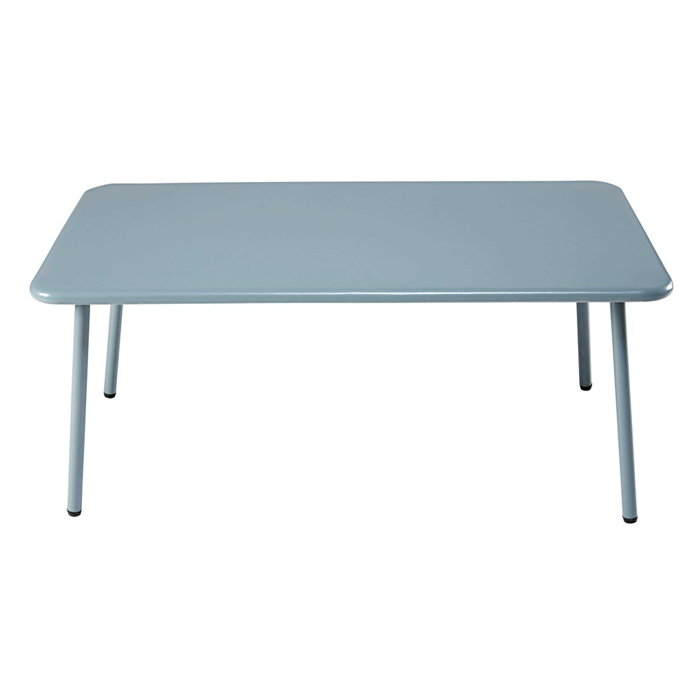 table basse de jardin rectangulaire en m tal bleu clair. Black Bedroom Furniture Sets. Home Design Ideas