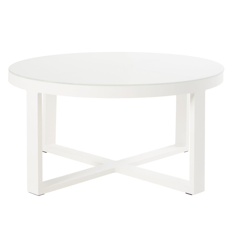 Table basse de jardin ronde en métal blanc et verre Thetis | Maisons ...