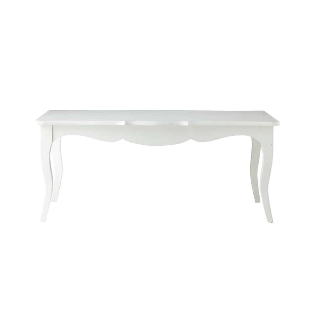 Table basse en bois blanche l 110 cm s raphine maisons for Table basse blanche pied bois