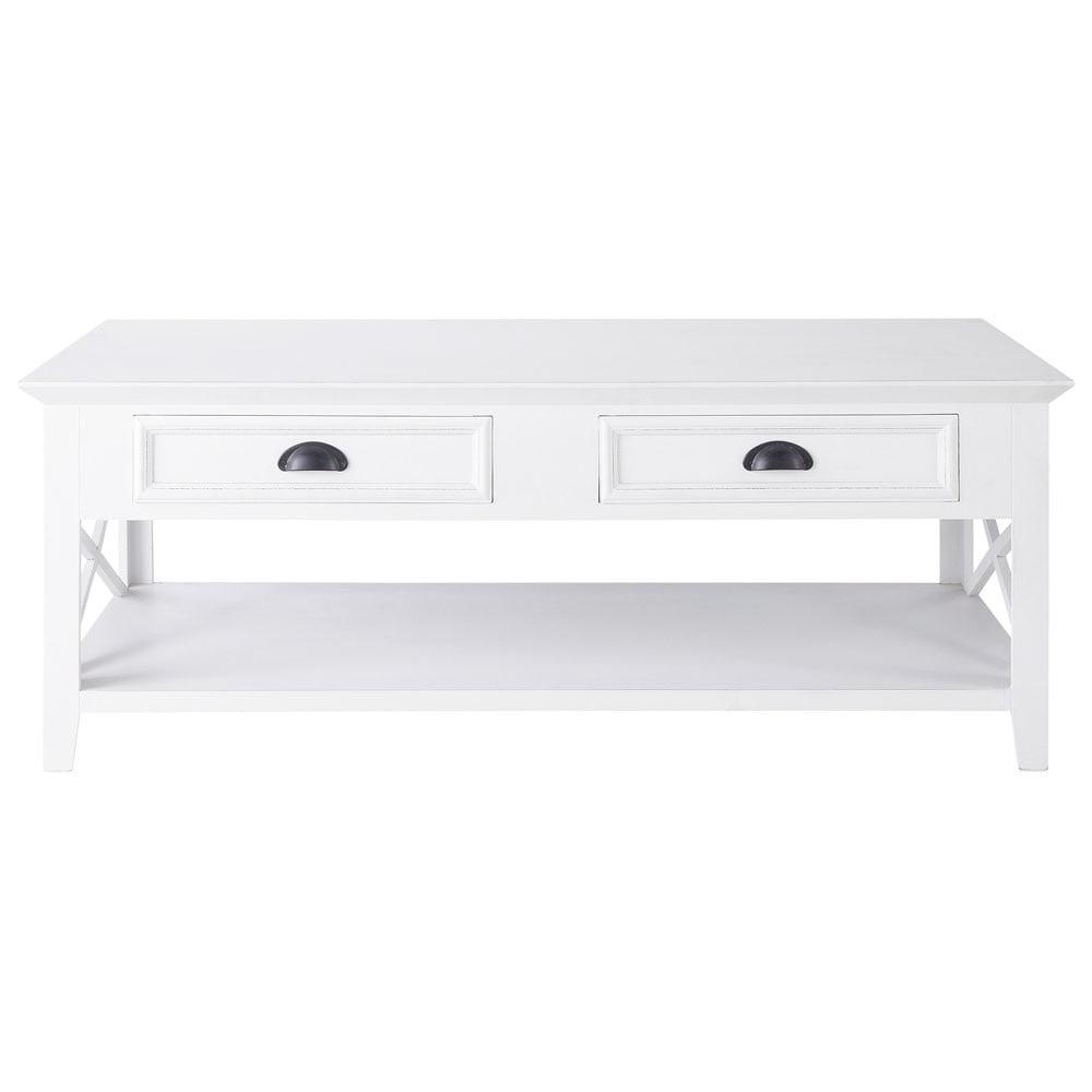 Table basse en bois blanche l 120 cm newport maisons du - Table basse blanche bois ...