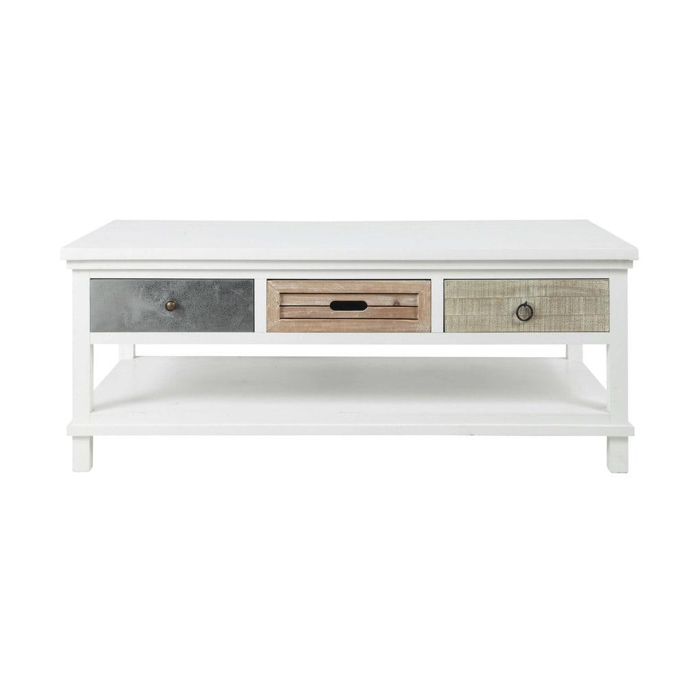 Table basse en bois blanche l 120 cm ouessant maisons du - Table blanche en bois ...