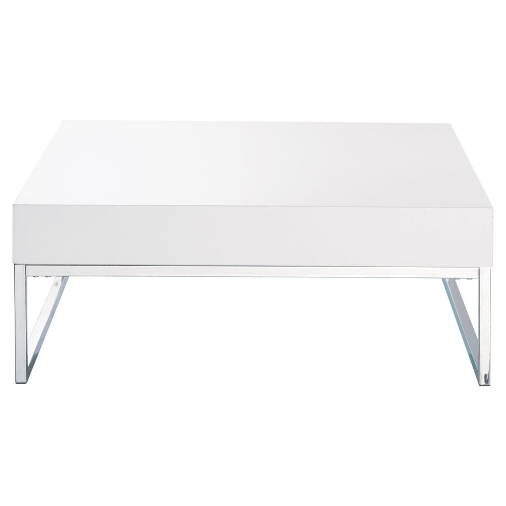 Table basse en bois et m tal chrom blanc laqu l 80 cm for Table en bois et banc