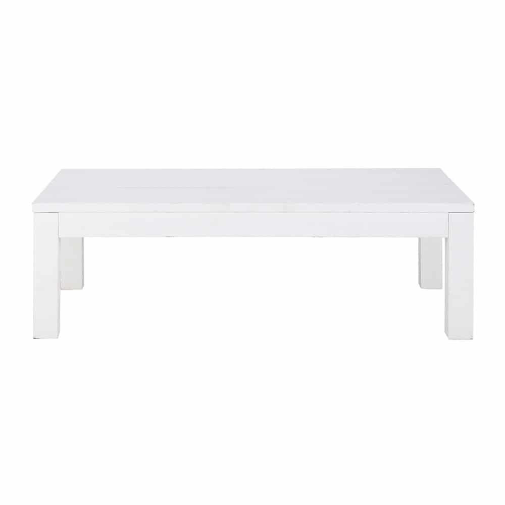 Table basse en bois massif blanche l 120 cm white - Table basse blanche bois ...